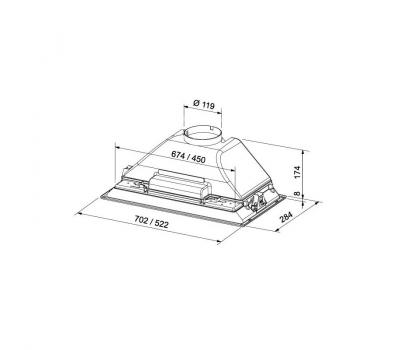 Okap do zabudowy FRANKE Box FBI 702 ECO GR - rysunek techniczny